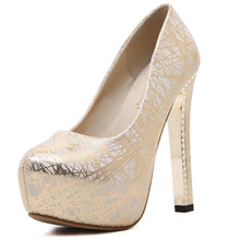 Load image into Gallery viewer, Round Toe Women Platform Pumps High Heels PU Leather Printed Shoes Woman