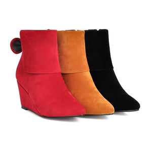 Bow Ankle Boots Wedges Shoes Fall|Winter 8907