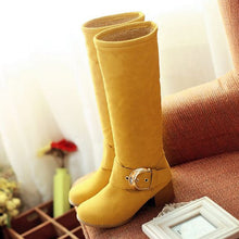 Load image into Gallery viewer, Round Toe Candy Color Buckle Knee High Boots Low Chunky Heels 8436
