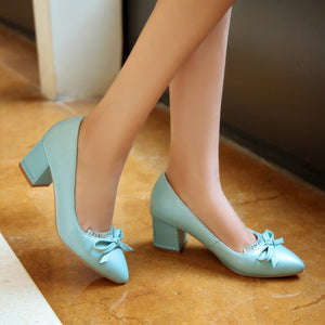 Knot Women Pumps Rhinestone High Heels Thick Heeled Shoes Woman