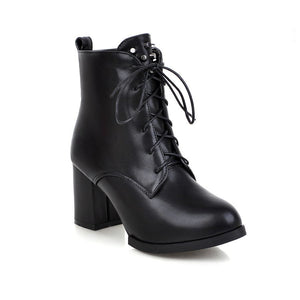 Studded High Heels Motorcycle Boots Lace Up Women Shoes