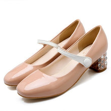 Load image into Gallery viewer, Women Pumps Medium Heel Patent Leather Mary Janes Shoes Woman 3424