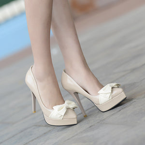 Women Platform Pumps Pointed Toe Bowtie Patent Leather High Heels Shoes Woman 3597