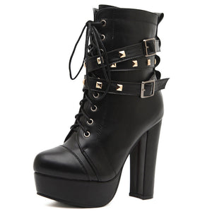 Lace Up Women Motorcycle Boots Platform High Heels Studded Ankle Boots Shoes Woman 3350
