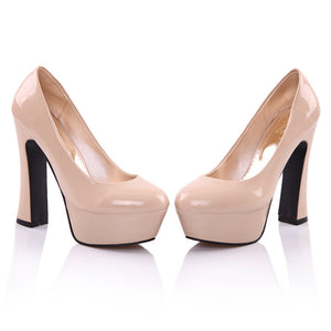 Women Platform Pumps Patent Leather High Heels Shoes Woman 3407