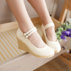 Buckle Women Wedges Soft Leather Pumps Platform Shoes 3405