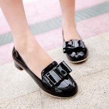 Load image into Gallery viewer, Patent Leather Bow Women Pumps High Heels Platform Shoes 3138