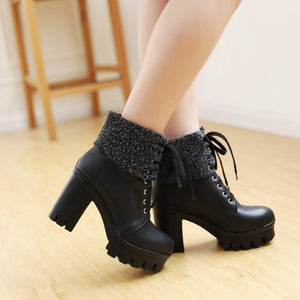 Lace Up Fur Ankle Boots High Heels Women Shoes
