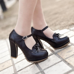 Women Platform Pumps PU Leather Bow High Heels Dress Shoes