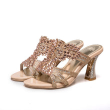 Load image into Gallery viewer, Rhinestone Gold Heel High Heels Slides Sandals Wedding Shoes 5818