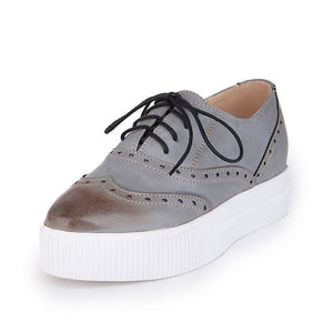 Round Toe Lace Up Oxfords Platform Shoes 5056