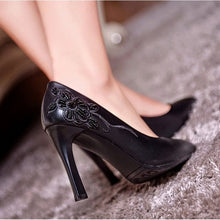 Load image into Gallery viewer, Embossed Leather Women Pumps High Heels Spike Shoes Woman