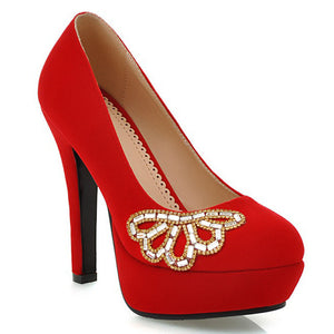 Rhinestone Platform Pumps High Heels Dress Shoes Woman
