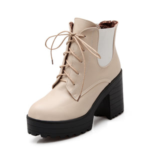 Lace Up Ankle Boots High Heels Women Shoes Fall|Winter 3671