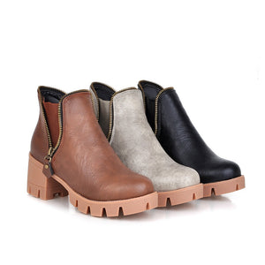Round Toe Zipper Ankle Boots Women Shoes Fall|Winter 11191501