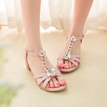 Load image into Gallery viewer, Fashion Rhinestone High Heels T Straps Sandals Women Pumps Shoes 3808