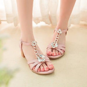 Fashion Rhinestone High Heels T Straps Sandals Women Pumps Shoes 3808