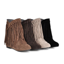 Load image into Gallery viewer, Tassel Wedges Short Boots Women Shoes