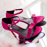 Bowtie Sandals Women Ankle Straps Pumps High Heels Spike Shoes Woman