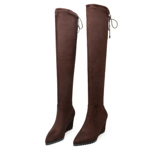 Slim Pointed Toe Wedge Over the Knee Boots 7007