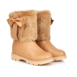Bowtie Snow Boots Winter Platform Shoes Woman 3276 3276