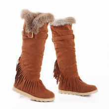 Load image into Gallery viewer, Rabbit Fur Women Snow Boots Artificial Suede Winter Knee High Boots Shoes Woman  3357