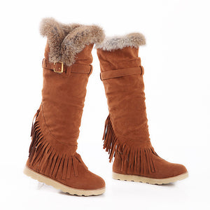 Rabbit Fur Women Snow Boots Artificial Suede Winter Knee High Boots Shoes Woman  3357