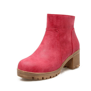 Round Toe High Heels Ankle Boots Women Shoes 75948392