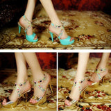 Rhinestone Platform Sandals Peep Toes Women Pumps High Heels Spike Shoes Woman