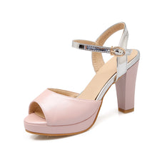 Load image into Gallery viewer, Women Sandals Ankle Straps Chunky Heel Pumps Platform High-heeled Shoes