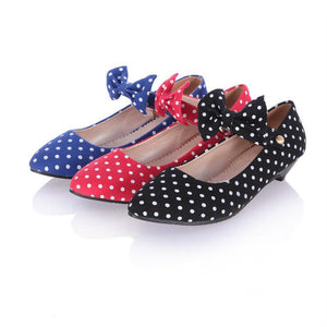 Denim Women Wedges Low-heeled Ankle Straps Bow Polka Dot Shoes