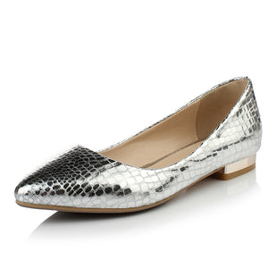 Pointed Toe Gold Silver Pu Leather Women Flats Shoes