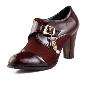 Patent Leather Women Pumps Buckle High Heels Shoes Woman