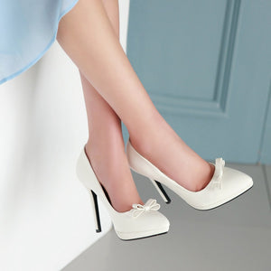 Pointed Toe with Bow Pumps Platform High Heels Fashion Women Shoes 1204