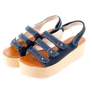 Denim Platform Sandals Hook Loop Women Wedges Beach Shoes