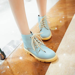 Pu Leather Ankle Boots Lace Up Shoes Woman 3277 3277