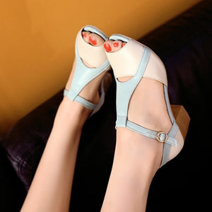 Peep Toes Sandals Women Pumps T Straps Buckle Shoes Woman