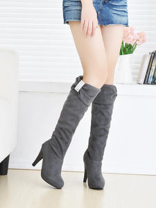Rhinestone Knee High Boots High Heels Artificial Suede Shoes Woman 3333