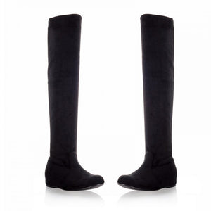 Elastic Faux Suede Over the Knee Boots Women 9166