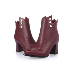 Studded Ankle Boots High Heels Shoes Woman