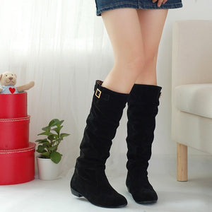 Buckle Faux Suede Knee High Boots Low Chunky Heels 2127