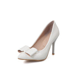 Womens High Heel Spike Shoes Pointed Toe Bow Lady Pumps Party Dress Shoes