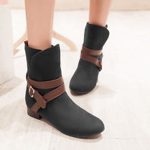 Load image into Gallery viewer, Buckle Ankle Boots Round Toe Shoes Woman