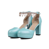 Rhinestone Sandals Ankle Straps Pumps Platform High-heeled Shoes Woman