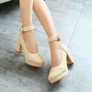 Women Platform Pumps Ankle Straps High Heels Jelly Shoes Woman 3418