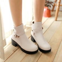 Load image into Gallery viewer, Buckle Ankle Boots Platform High Heels PU Leather Women Shoes