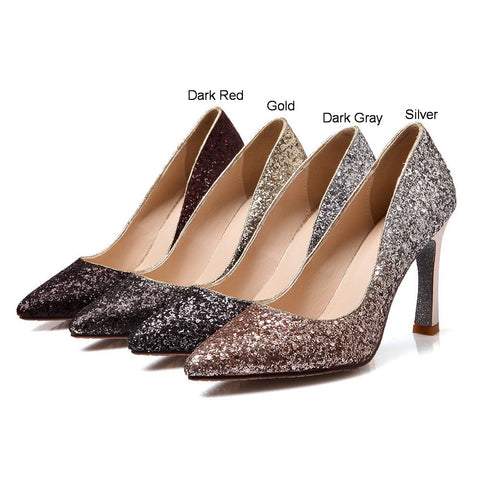 Glitter Women Pumps Pointed Toe Gradients High Heels Party Wedding Shoes  Woman 37532f339c