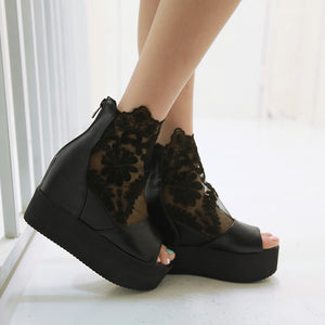 Fashion Peep Toes Lace Wedges Sandals Pumps Platform High Heels Women Dress Shoes 6547