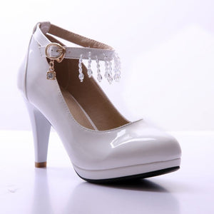 Beads Women Pumps Platform Ankle Straps High Heels Bridal Shoes Woman