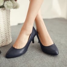 Load image into Gallery viewer, PU Leather Women Pumps High Heels Spike Shoes Woman